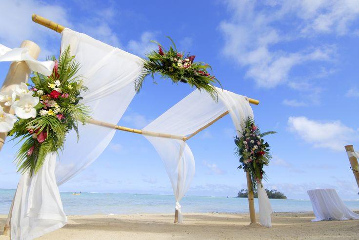 Beautiful #Beach #Wedding #Alter at #TeVakaroaVillas #MuriBeach #CookInslands