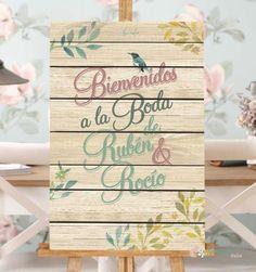 Cartel con fondo en madera y decoración floral y de pajaritos vintages. Mensaje de Bienvenidos para Boda. Se personaliza con el nombre de los novios. Vinilo sobre madera Tamaño 40 x 60 cms