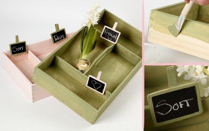 DIY Trækasse Have Planter Acryl maling Kridttavle