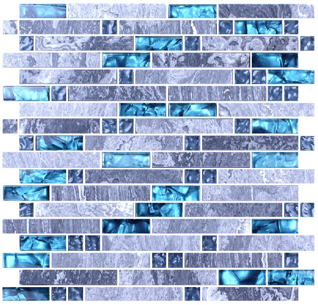 Sale 11sf Sea Blue Glass Tile Kitchen Backsplash Marble Bathroom Interlock Wall Linear Shower Bathtub Fireplace