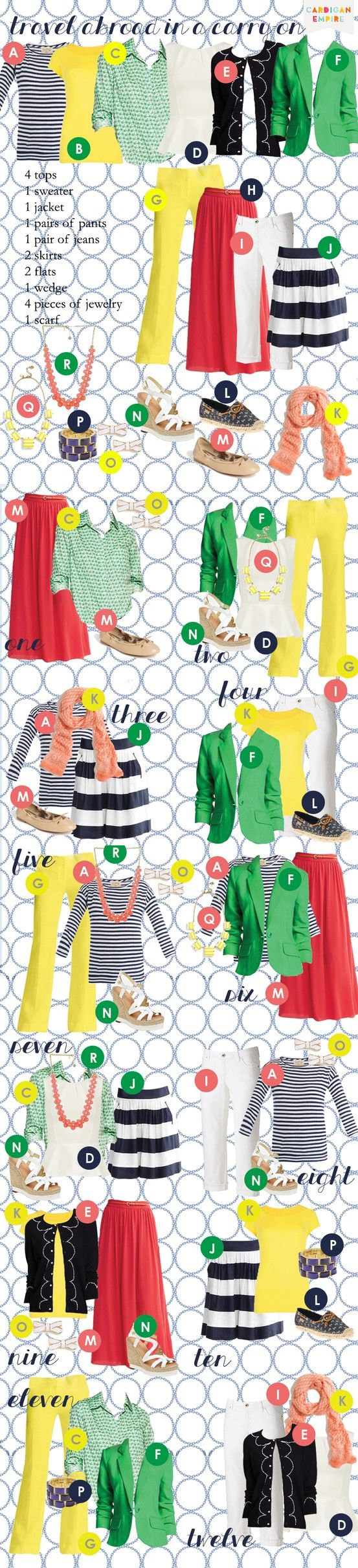 Travel Abroad in a Carry-On.  10 Pieces, 12 Outfits.  Picture Perfect.  Click to see the video.