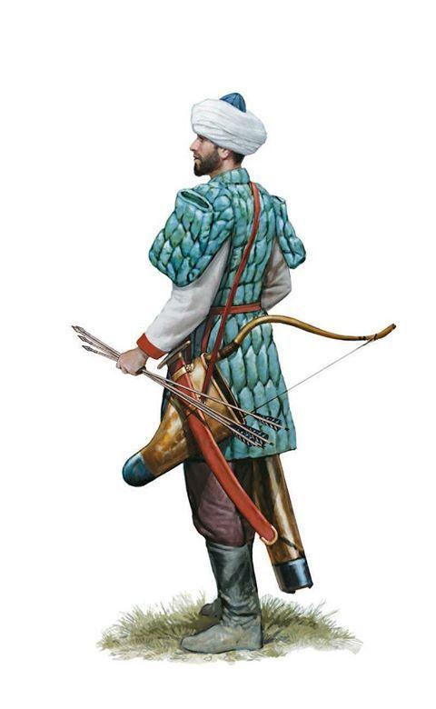 Roman mounted archer, 11th century AD. Artwork by Tom Croft.