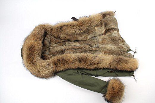 Lea-Marie PARKA XXL Kragen aus 100% ECHTPELZ ECHTFELL Jacke Mantel Kaninchen Fütterung Jacken: Amazon.de: Bekleidung