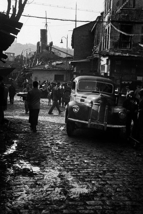 Ara Guler TURKEY. 1958. Galata. A car on the repair wharf.