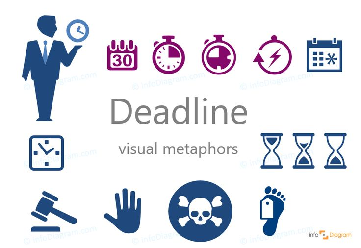 Deadline icons - abstract concept visualization by PowerPoint. A person with a clock, stopwatch, calendar, schedule, square clock, sand timer, legislation and justice symbol, hammer, stop sign, pictogram of the raised hand, final termination, the deadman leg, poison.  Flat editable infographics images.