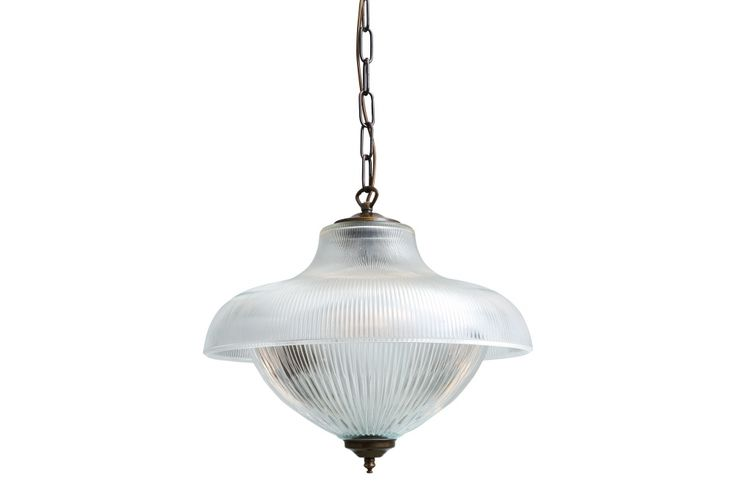 A Double Prismatic Pendant, the Essence is a grand light in 2 parts each with ribbed holophane glass and in several antique finishes, looks good in a hallway