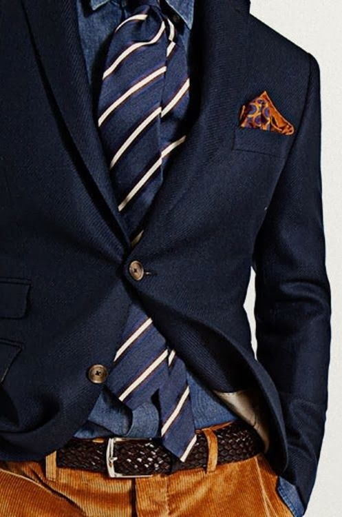 How to wear cord trousers with matching blazer and details