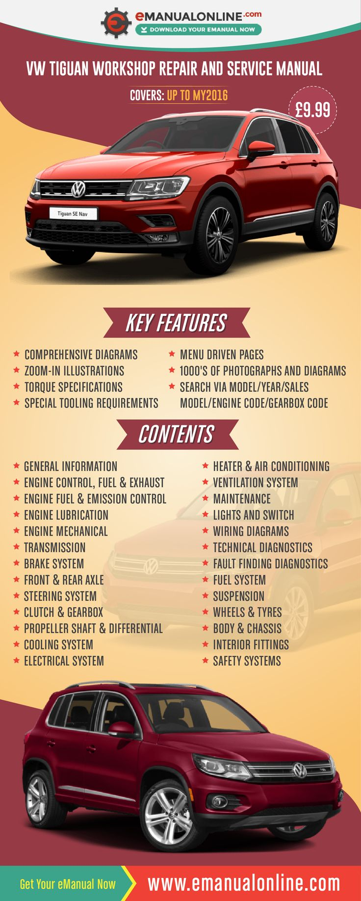 VW Tiguan Workshop Repair And Service Manual  This simple to use menu driven repair manual offers all the main functions seen below to service or repair your car, including Strict Maintenance Operations using a step by step process.