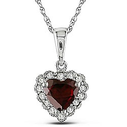 @Overstock - Pretty heart pendant shimmers with a deep velvety red garnet Jewelry is crafted of lustrous 10-karat white gold Lovely necklace makes a romantic gift for your sweethearthttp://www.overstock.com/Jewelry-Watches/10k-Gold-Garnet-and-Diamond-Heart-Necklace/3955110/product.html?CID=214117 $107.99