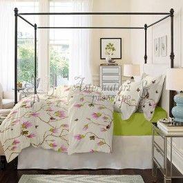 Cottonissima Magnolia Butterfly v1 lime - lenjerie de pat din bumbac 2 persoane