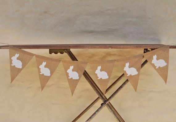 WHITE BUNNIES  Hessian Burlap Nursery Children Easter Celebration Party Banner Bunting Decoration Birthday Baby shower