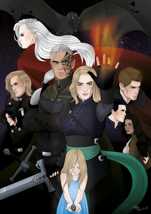 Ren Allsbrook, Aedion, Manon, Rowan, Aelin, Chaol, Dorian, Sorscha by SweetFinjaDrawings. Heir of Fire. Sarah J Maas