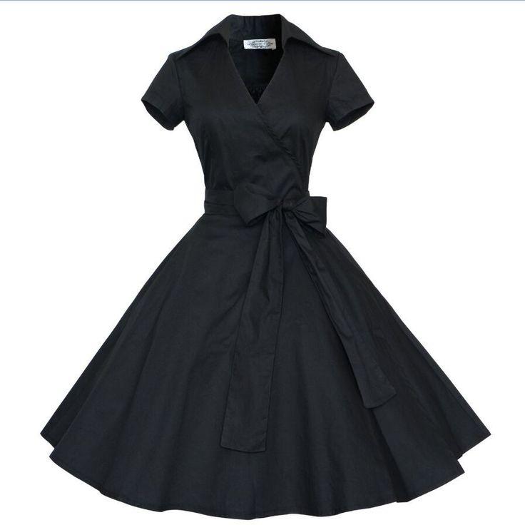 Audrey Hepburn style vintage V-neck belt blow big swing robe dress women casual rockabilly prom 50s dresses female Alternative Measures
