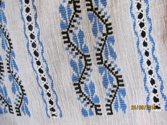 Hand embroidered Romanian peasant blouse blue leaves