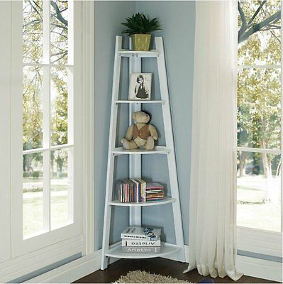 New-Wooden-Corner-Shelf-5-Tiers-Triangle-Bookcase-Storage-Unit-Display-Stand