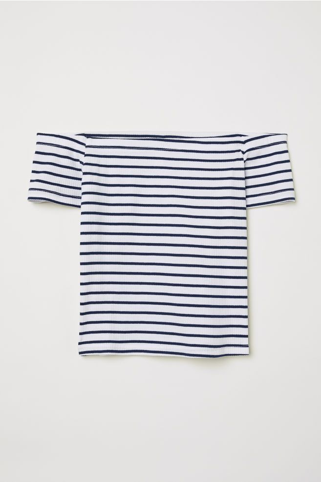 1caef5e4fb3 Ribbed Off-the-shoulder Top - Dark blue/white striped - Ladies | H&M US 1