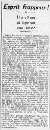Un esprit frappeur de 13 ans à la une de L'Ouest-Eclair, 9 octobre 1913