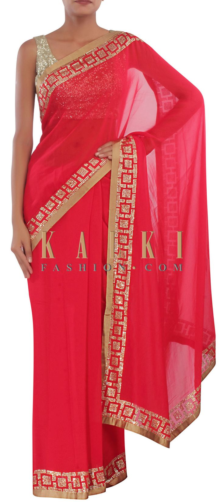 Buy Online from the link below. We ship worldwide (Free Shipping over US$100) http://www.kalkifashion.com/red-saree-embellished-in-kundan-only-on-kalki.html