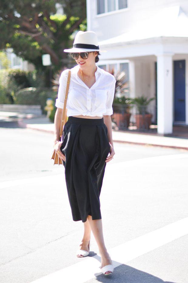 white blouse + circle midi skirt