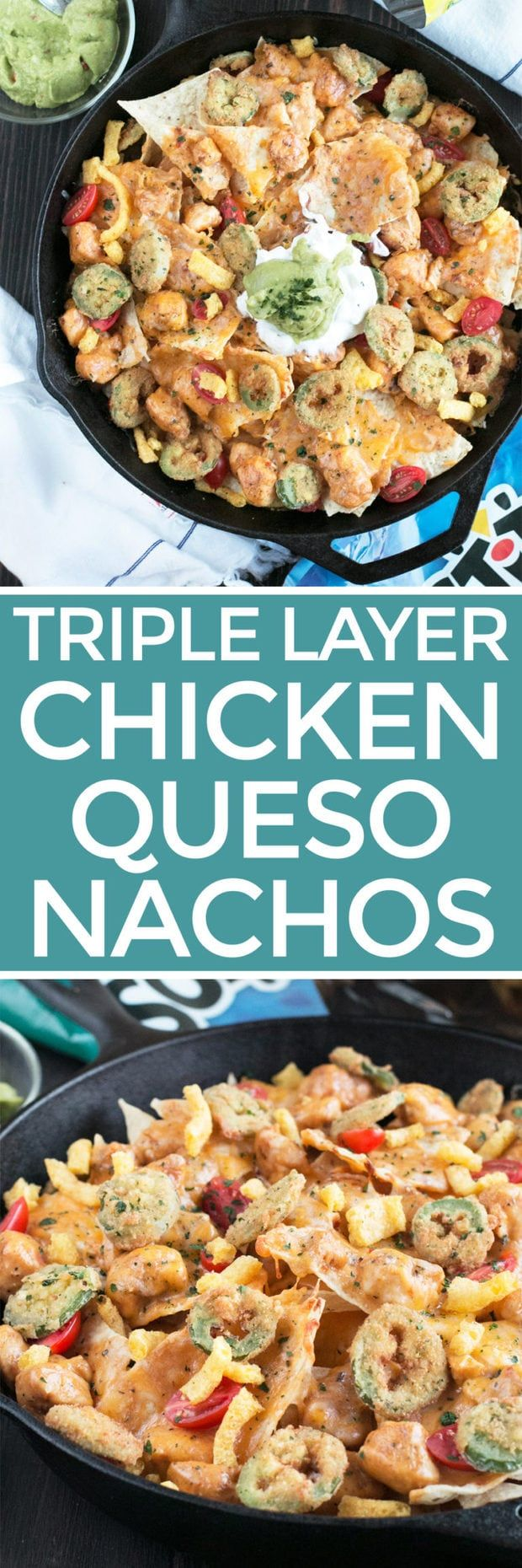 Triple Layer Chipotle Chicken Queso Nachos with Fried Jalapeños