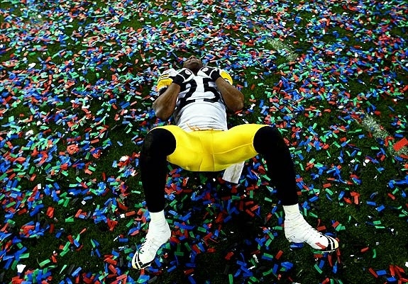 Ryan Clark celebrating the Steelers Super Bowl XLIII victory :)