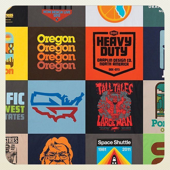 "A scene from ""Pretty Much Everything""...showing all of our torso covers from over the years! 17 days until our book hits the streets! #may17 Pre-order at ddcbook.com! #ddcbook #prettymucheverything #256pages #actnow by draplin"