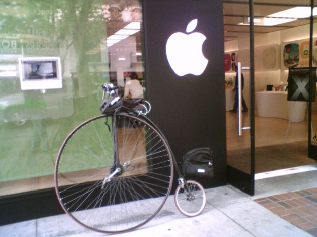 This velocipede parked outside an Apple store: | The 24 Most Hipster Things That Have Ever Happened