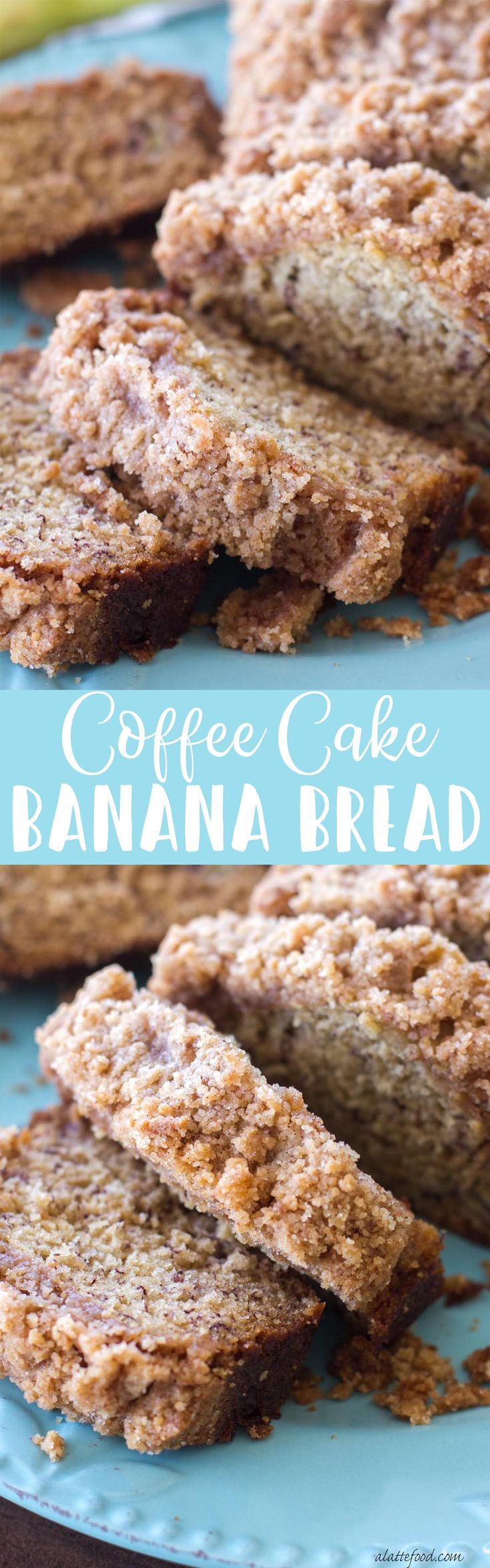 This classic banana bread recipe is topped with a sweet crumb topping making it a cross between a quick bread and coffee cake! Coffee Cake Banana Bread is sure to be a new favorite! banana bread, coffee cake, mom's banana bread, classic banana bread