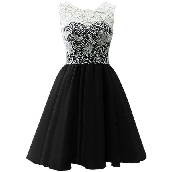 Dresstells Women's Short Tulle Prom Dress Dance Gown with Lace ($100) ❤ liked on Polyvore featuring dresses, vestidos, short dresses, black, lace bridesmaid dresses, black bridesmaid dresses, bridesmaid dresses and black mini dress