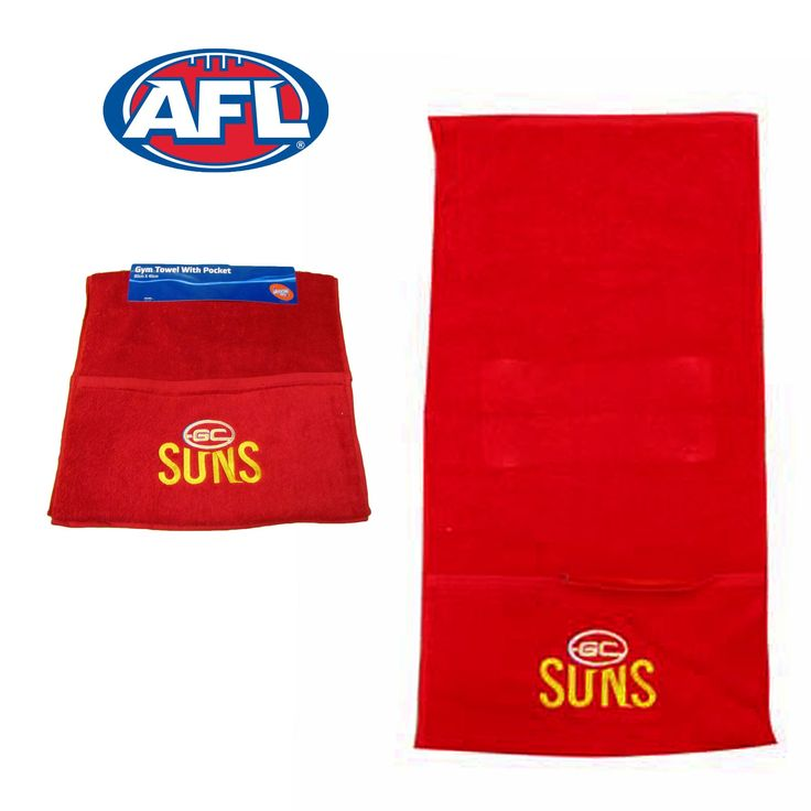 Gym Towel with Pocket Gold Coast Suns by AFL