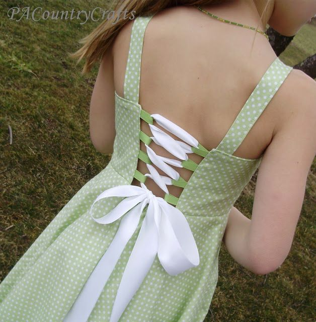 Sew lace up back dress