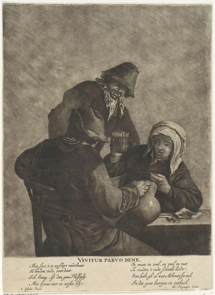 Anonymous   Drie drinkers, Anonymous, Cornelis Visscher (II), Hendrik Visjager, 1683 - 1684   Drie drinkers bij een tafel. Een van hen heft het glas, een andere, op de rug gezien, houdt een bierkan in de hand. Op de tafel liggen een pijp en tabak.