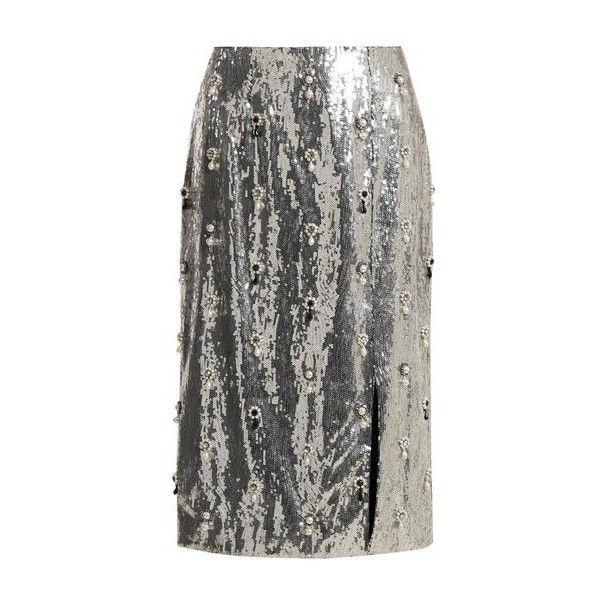 Erdem Tahira sequin-embellished skirt found on Polyvore featuring skirts, silver, floral print skirt, floral knee length skirt, pencil skirts, floral skirts and high waisted floral skirt