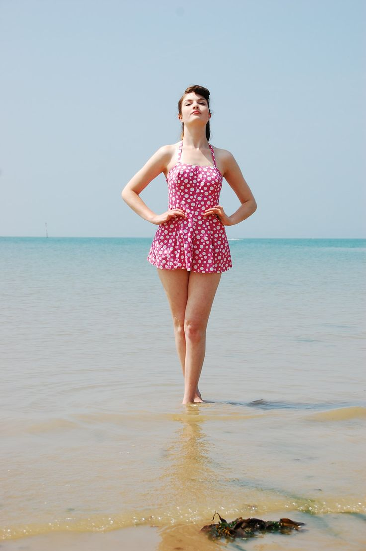 Stunning 1950's Polka Dot Two Piece Beach Suit / Swimming Costume Pin up by madampopoffvintage on Etsy
