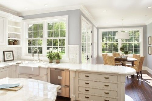 Wall color benjamin moore solitude paint box for Kitchen design 94070