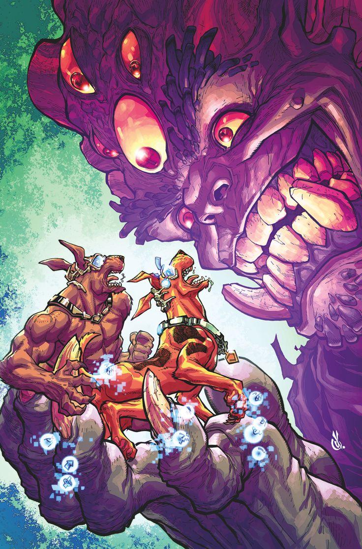 SCOOBY_APOCALYPSE_16Es la vida o la muerte!  Frente a la elección entre los dos, los grupos guerreros liderados por Scrappy y Scooby deben unir sus fuerzas para sobrevivir al amenazador mega monstruo!  ¿Sobrevivirán a la lucha?  ¿O serán absorbidos por el vientre de la bestia para siempre ?!  Entonces, en una historia de bonificación especial ... mamífero internacional de misterio, Ardilla Secreta, está de vuelta en acción!