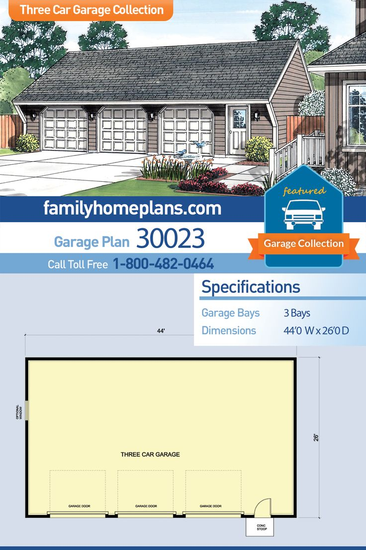 Contemporary style basic three car garage plan with 3 individual garage doors. A three bay garage design with plenty of space for longer SUVs and pick up trucks. 44×26 feet is a great size for a three stall design. Build a garage,  garage building plans, plans to build a garage, garage blueprints,  detached garage.