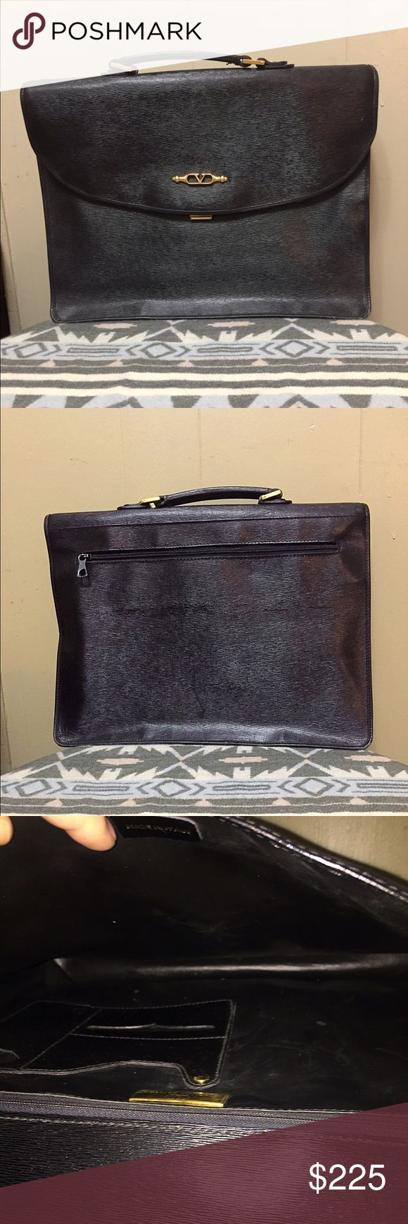⚡️⚡️FLASH SALE ⚡️⚡️Vintage Valentino  Briefcase Beautiful, vintage Valentino Garavani black leather briefcase. In good used condition with some signs of wear around edges. There is still apt of life left in this beautiful bag. Gold tone hardware. Valentino Garavani Bags Laptop Bags