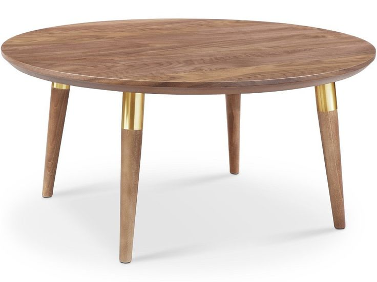 The Victory Round Coffee Table is simple and strong while being absolutely gorgeous! It also has a gold tube accent which adds to the appeal.- Made of MDF with Walnut Veneer top34