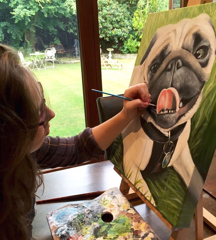 Painting the wonderful pug Clarence this summer, using oil on canvas!