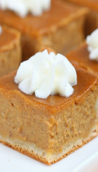 Pumpkin Pie Bars ~ Made with a rich and creamy pumpkin filling, these pie bars are a delicious twist of the classic pie and a nice way to feed a crowd without being too messy! And with only 6 ingredients they come together in no time!