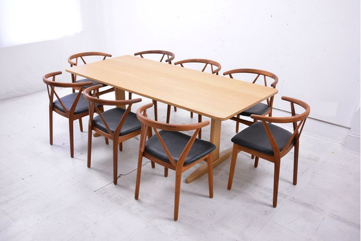 A lovely set of 8 #teak #chairs made by #brunohansen model 225. #design by #henning kjærnulf. New black #leather seats. Branded frames with makers name. A lovely match with the pale #shaker table by #borge #mogensen for cm madsen. £4000 for the chairs. http://bit.ly/1Qxv32g #mcm #interior #danish #nordic #scandinavian #fine #art #20th
