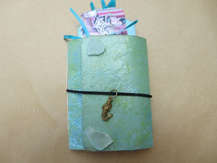Vintage Day at the Beach Mini Handmade Junk Journal/Notebook/Art/Memory/Dream/Planner/Scrapbook/Travel/Gratitude Journal by Maroonmanx on Etsy  #beach #vintage #seaglass #beachglass #mermaid #dayatthebeach #journal #mothersday #under$20