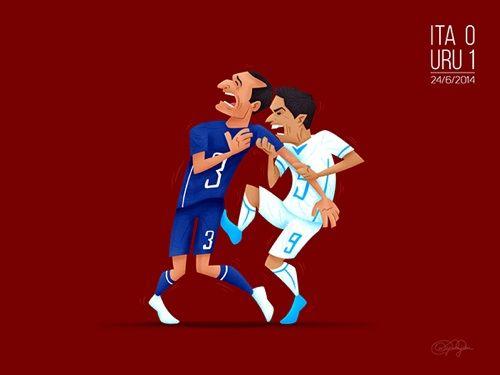 6. La mordida que le propinó el uruguayo Luis Suárez al italiano Giorgio Chiellini, hecho que dio mucho de qué hablar.