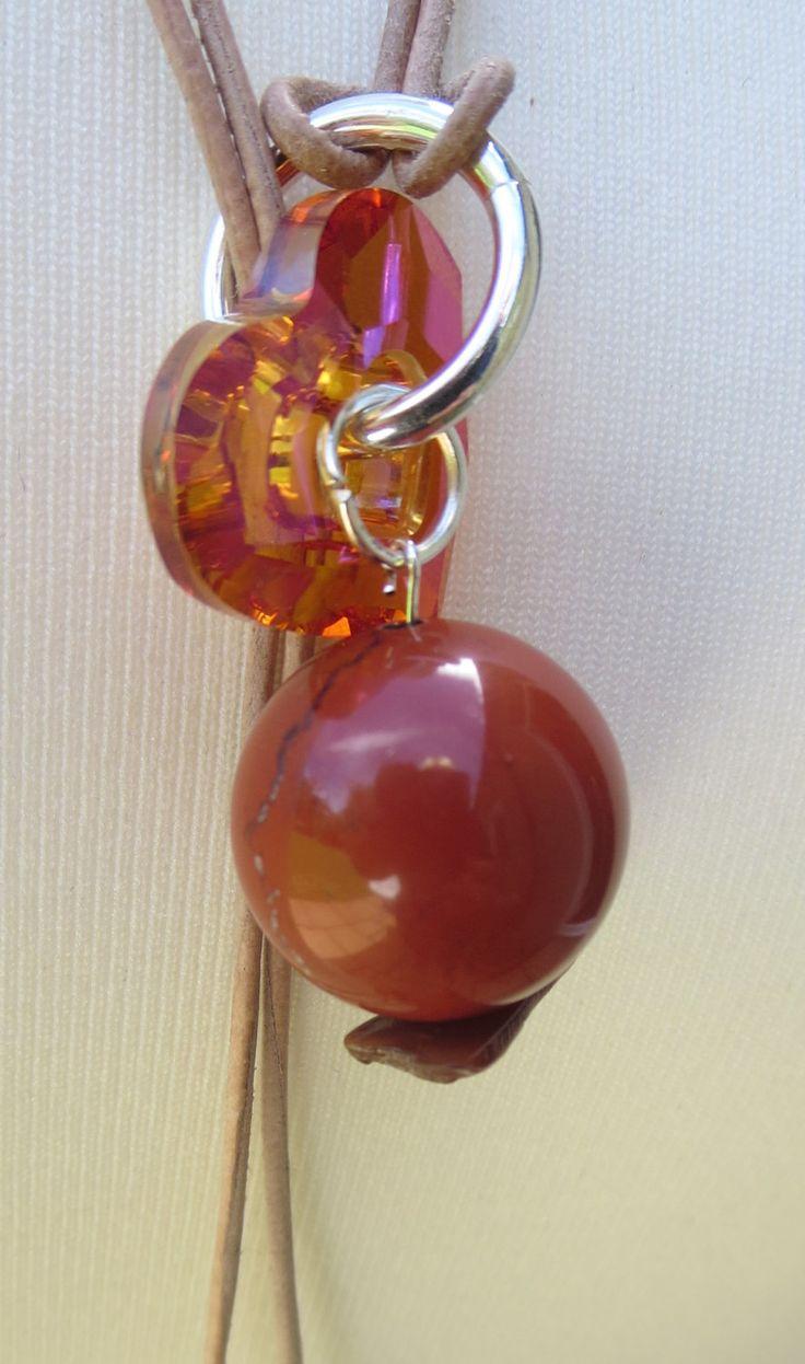 www.kbrownjewellery.co.uk Crystal Pendant Lariat, Red Beaded Necklace, Gemstone Heart YNecklace, Edinburgh Jewellery Designer, K Brown Jewellery, Beadwork Designer by KBrownJewellery on Etsy