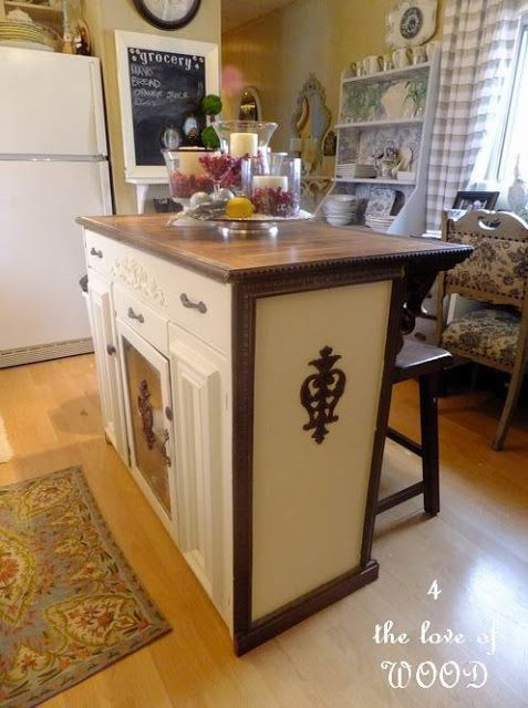Cabinet Transformed Into A Kitchen Island Repurposed Furniture Pinterest Cabinet