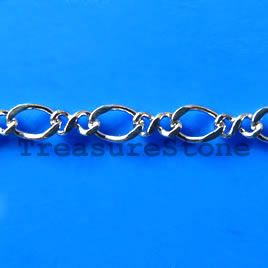 Chain, brass, rhodium-plated, 3x4mm. TreasureStone Beads Edmonton
