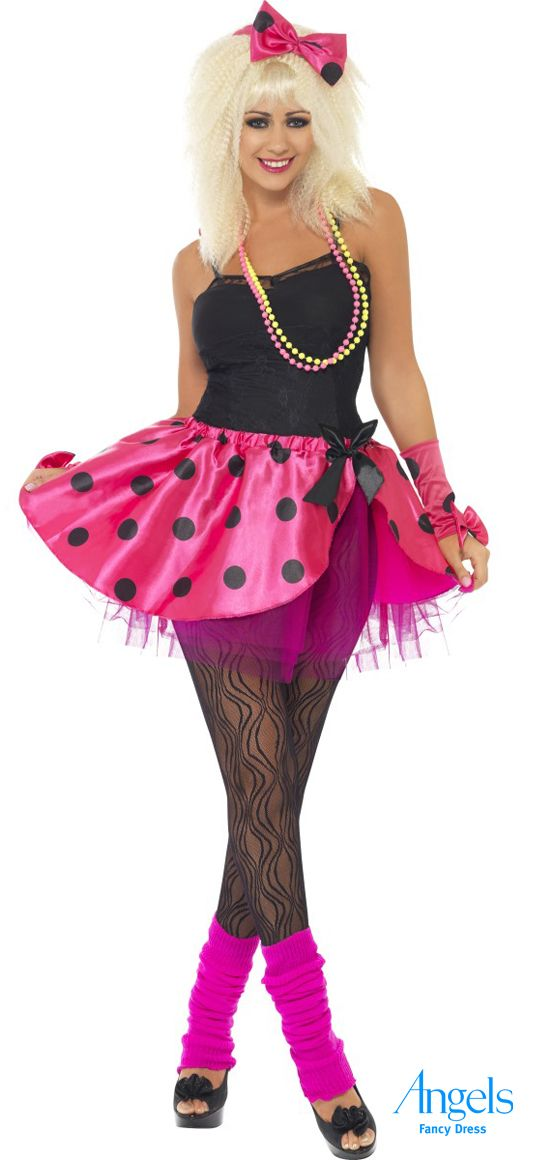Flirty and fun. This great 80s fancy dress costume comes with a reviling bright tutu skirt designed to catch everyone's attention. The kit also includes one pair of fingerless gloves and a headband. http://www.fancydress.com/costumes/Pink-Tutu-Instant-Kit-/0~4346505~12