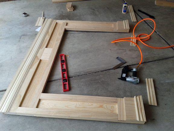 DIY FIreplace surround w/media cubbies
