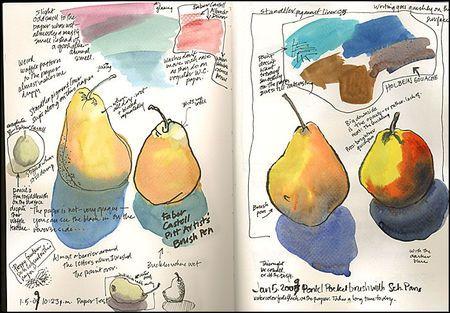 pear sketchbook, colour/media trials . Roz Stendahl via roz wound up